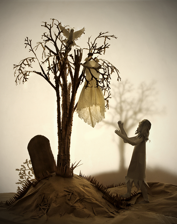 Ashputtel and the Dove. Based on the Grimm version of the popular fairy tale Cinderella. An installation made from paper and card and then photographed.